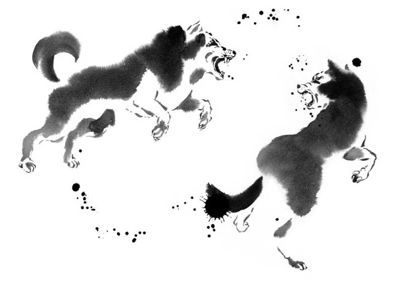 cyril-blondeau-sumi-painting-of-wolves