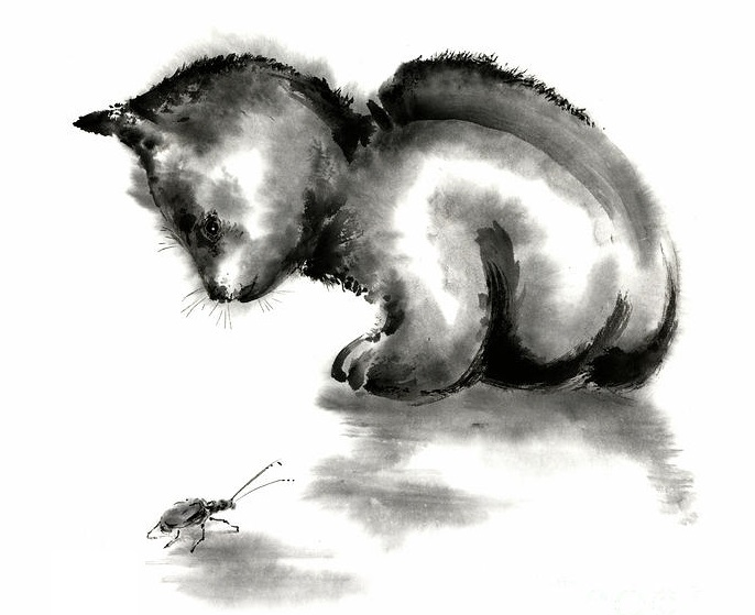 funny-cute-little-black-cat-and-beetle-japanese-sumi-e-original-ink-painting-art-print-mariusz-szmerdt